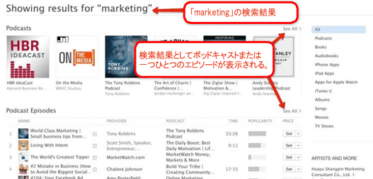 「marketing」の検索結果 検索結果としてポッドキャストまたは一つひとつのエピソードが表示される。
