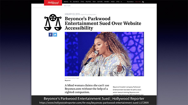 スライド:Beyonce's Parkwood Entertainment Sued | Hollywood Reporter