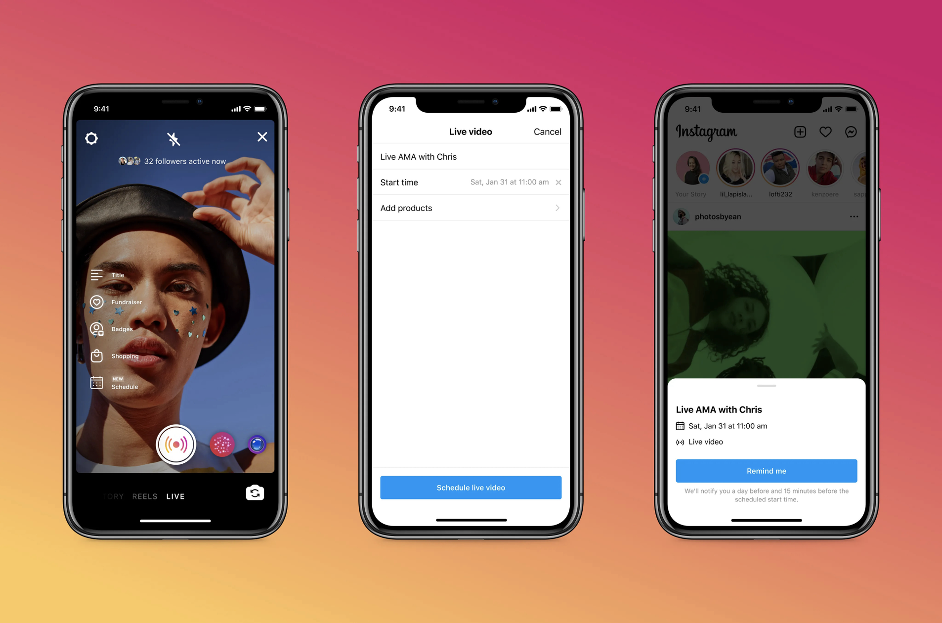 「Instagram」がライブ配信のスケジュールを事前設定して告知できる新機能を導入