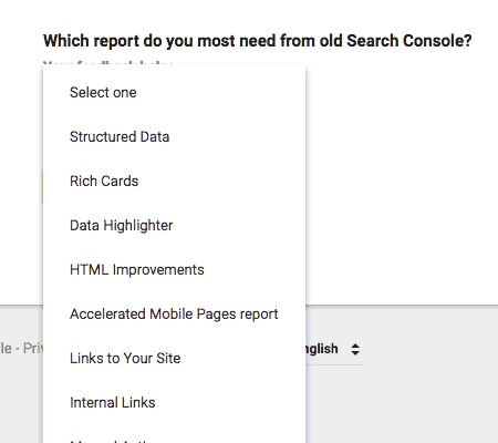 Which report do you most need from old Search Console?