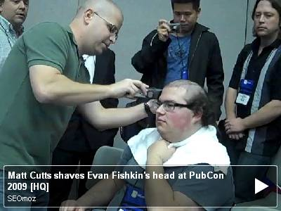 Matt Cutts shaves Evan Fishkin's head at PubCon 2009 [HQ]